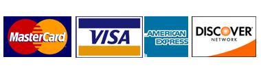 Visa, Amex, Discover, Mastercard