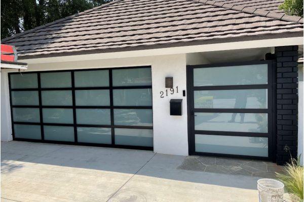 Modern Matching Garage Door and Gate